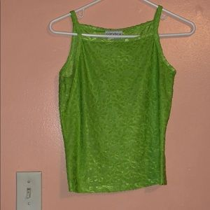 Lime green 90s daisy pattern tank top